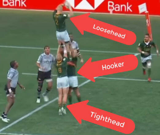 lineout with tighthead and hooker lifting the loosehead